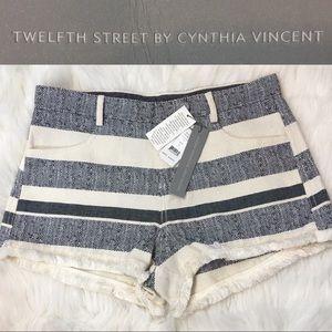 NEW Twelfth Street Fringe Bottom Striped Shorts